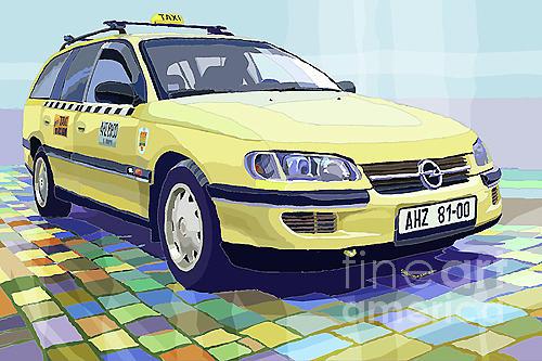 Opel Omega A Caravan Prague Taxi Digital Art