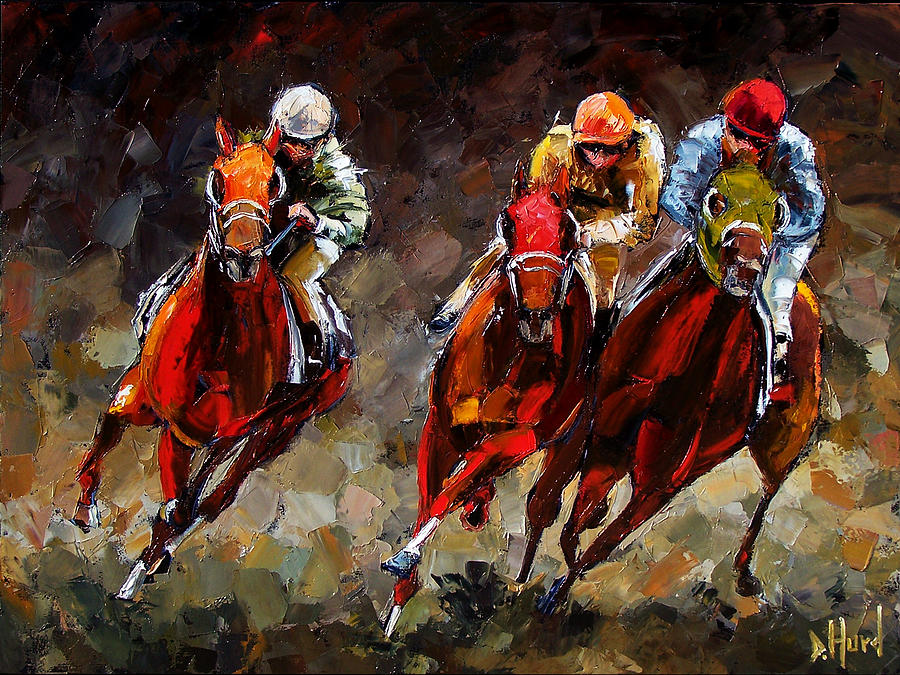 Horse Race Painting - Opening Day by Debra Hurd