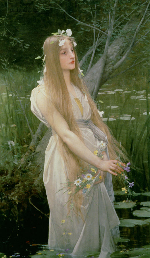 Female; Standing; Flowers; Gathering; Hair; Hamlet; Drowning; Suicide Painting - Ophelia by Jules Joseph Lefebvre
