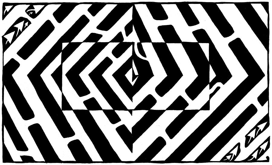 Optical Illusion Drawing - Optical Illusion Maze Of Floating Box by Yonatan Frimer Maze Artist