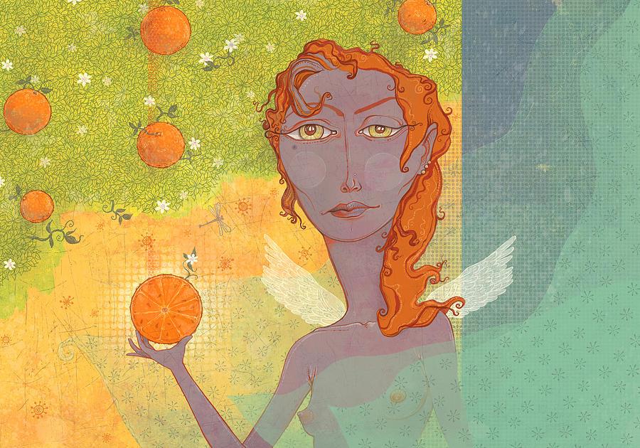 Angel Digital Art - Orange Angel 1 by Dennis Wunsch