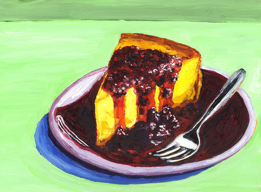 Cheesecake Painting - Orange Blossom Cheesecake With Boysenberry Sauce ...