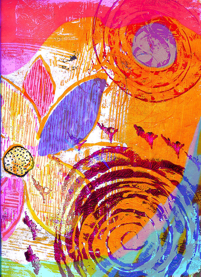Digital Acrylic Monoprint Flowers Floral Abstract Painting - Orange Crush by Robin Mead