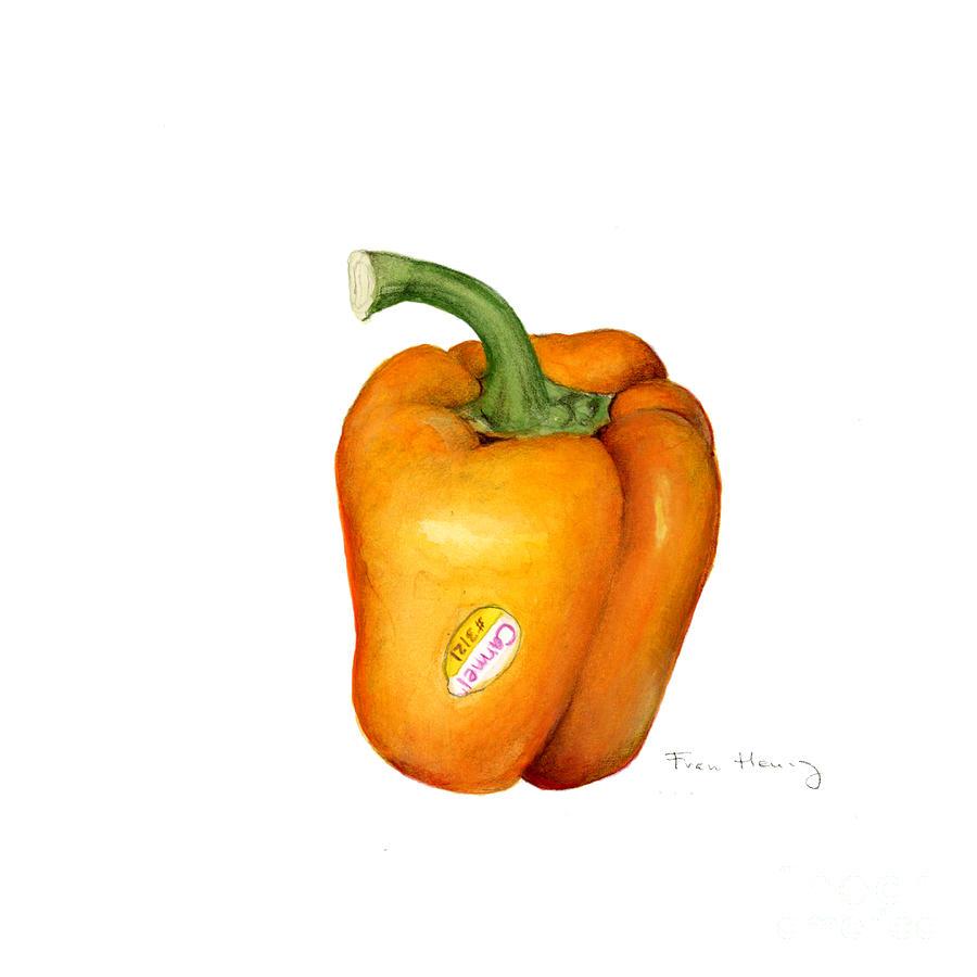 Botanical Painting - Orange Pepper by Fran Henig