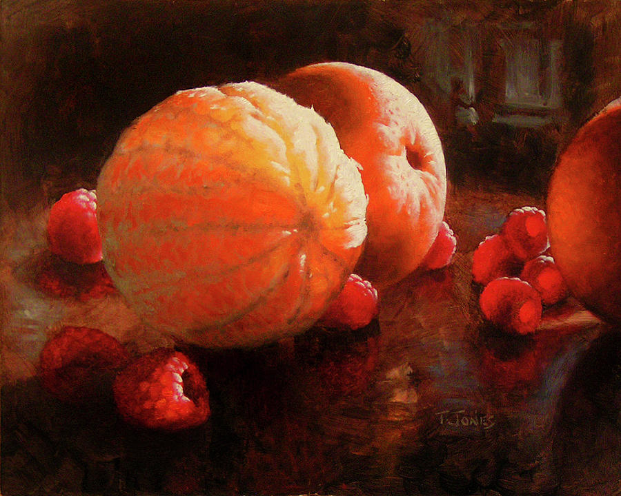 Orange Painting - Oranges And Raspberries by Timothy Jones