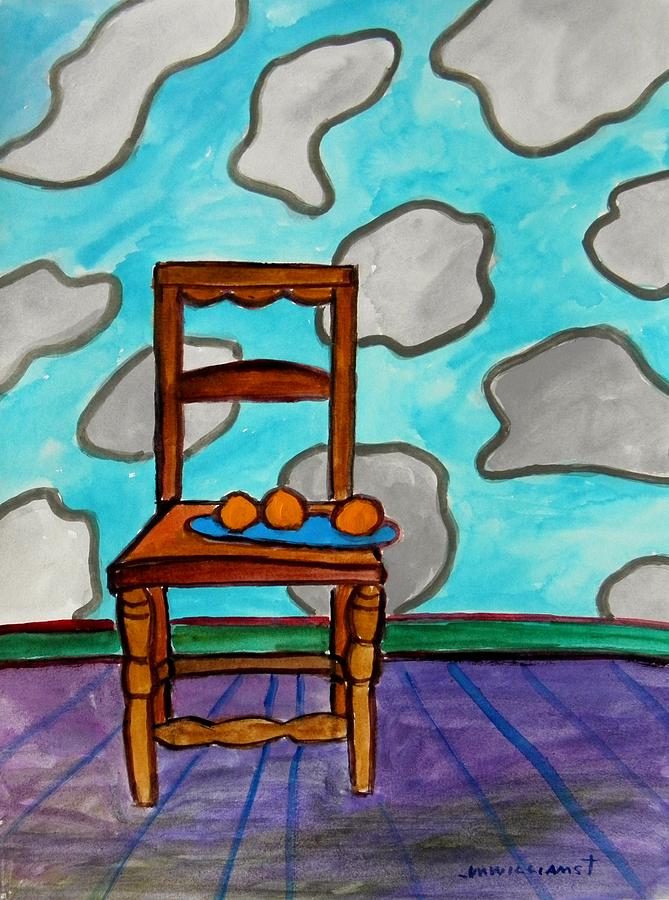 Chair Painting - Oranges On A Blue Plate by John  Williams