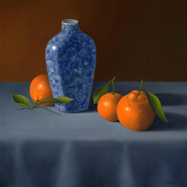 Still Life Painting - Oranges With Blue Vase by Christa Eppinghaus