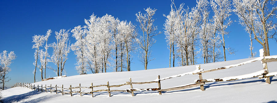 Snow Photograph - Ore Knob In Snow Panorama by Alan Lenk