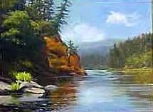 A Scene On Oregon's Rogut River. Painting - Oregons Rogue by Betty Schwartz