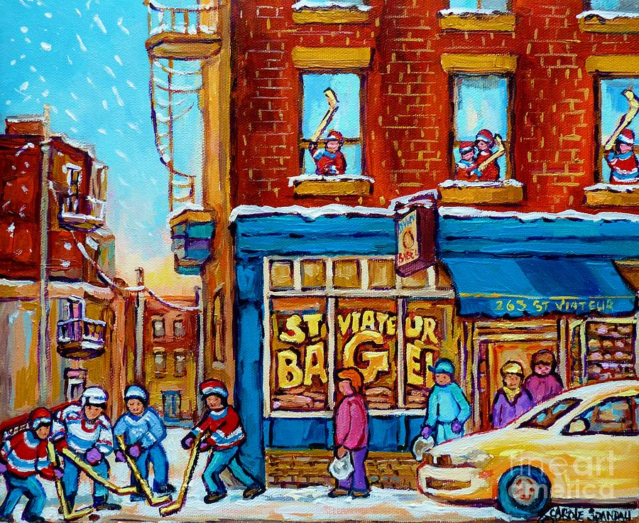 Original hockey art st viateur bagel paintings for sale for Original artwork for sale online