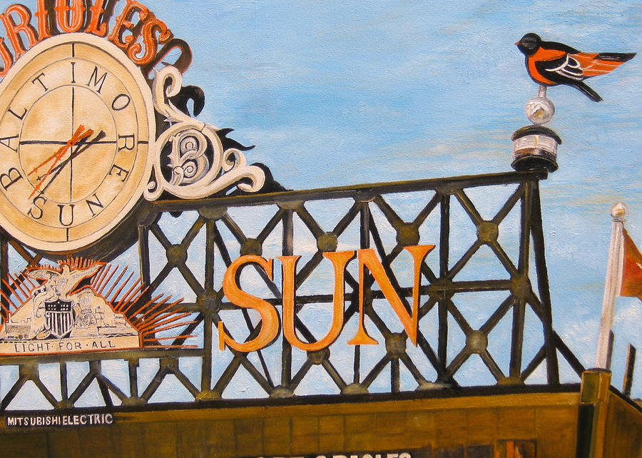 Orioles Painting - Orioles Scoreboard At Sunset by John Schuller