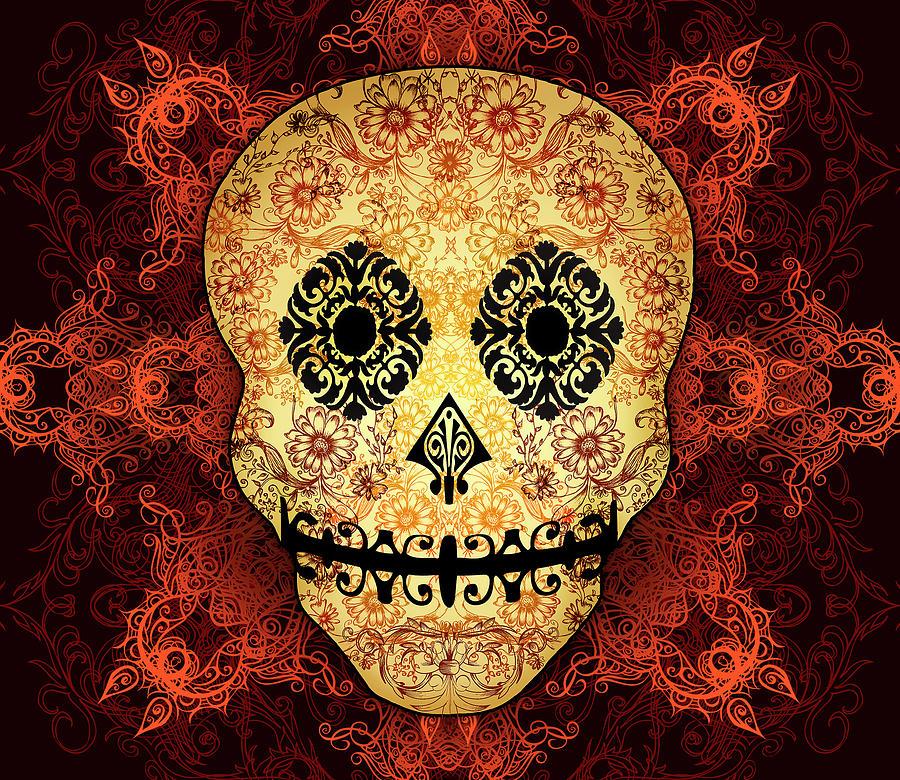 Vintage Digital Art - Ornate Floral Sugar Skull by Tammy Wetzel