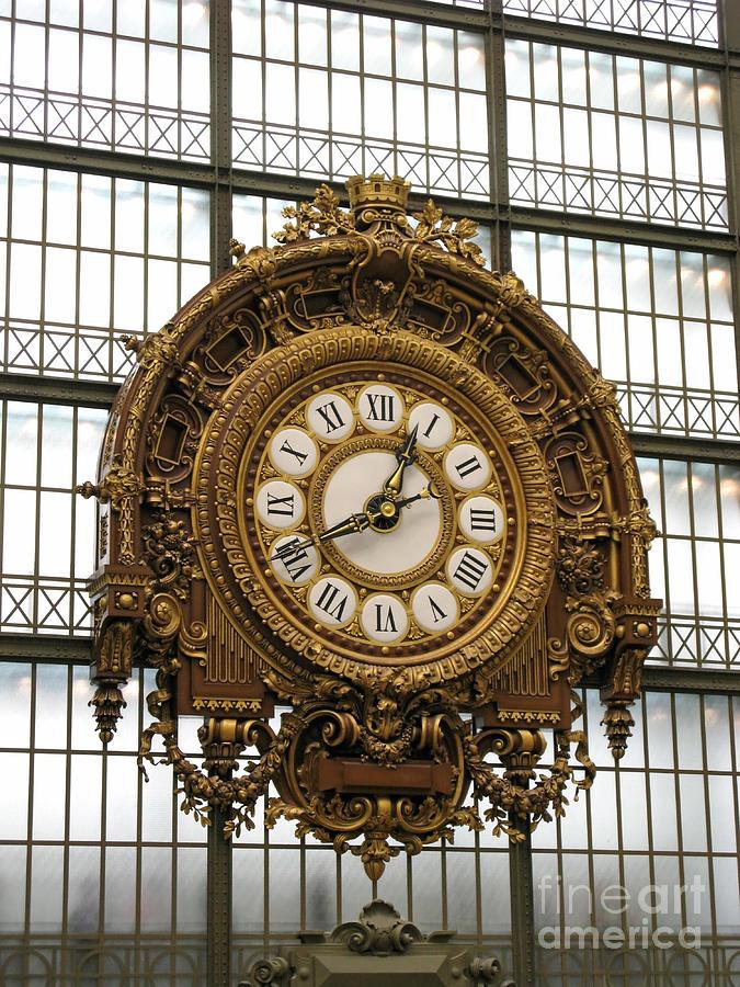 Clock Photograph - Ornate Orsay Clock by Ann Horn