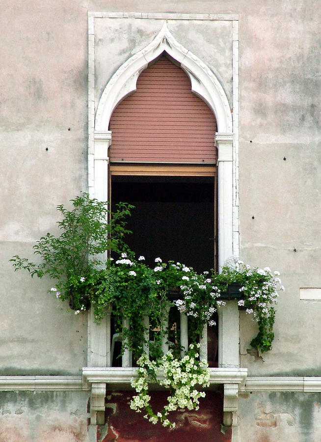 Ornate Window With Red Shutters Photograph
