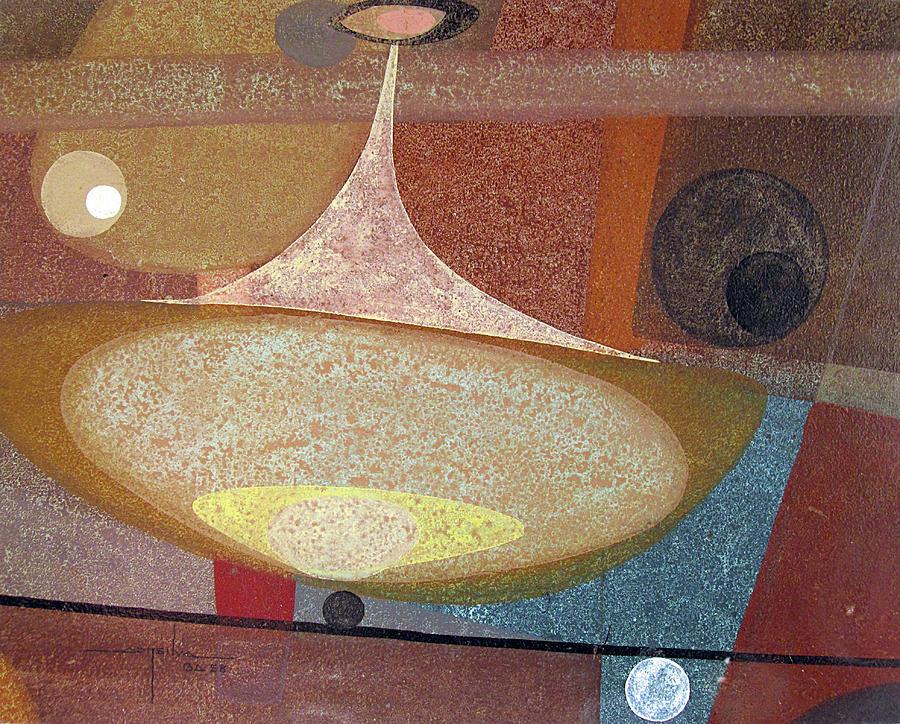 Bones Painting - Os1958ar002ba Abstract Design 14x11 by Alfredo Da Silva