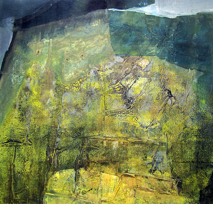 Abstract Painting - Os1959ar015ba Abstract Landscape Of Potosi Bolivia 20.9 X 21.9 by Alfredo Da Silva