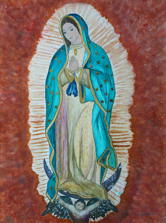 Watercolor Painting - Our Lady Of Guadalupe by Kerri Ligatich
