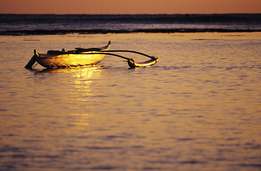 Aku Photograph - Outrigger And Sunset by Joss - Printscapes