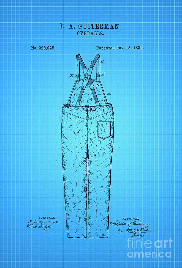 Overalls Patent 1885 2 Digital Art
