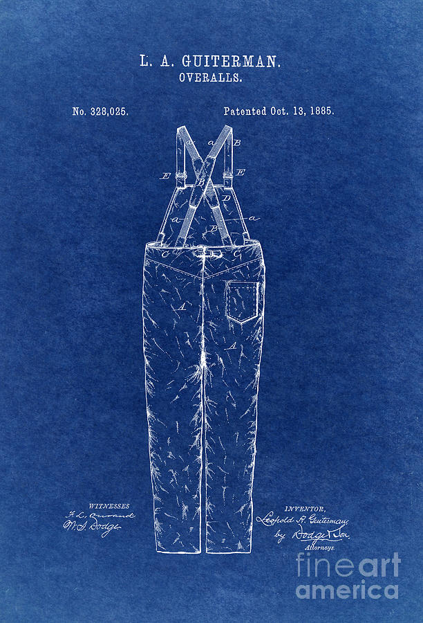 Overalls Patent 1885 3 Digital Art