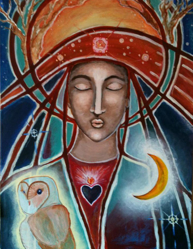 Painting - Owl And Goddess by Lakshmi Light