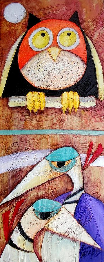 Quadri Painting - Owl And Herons by Anita