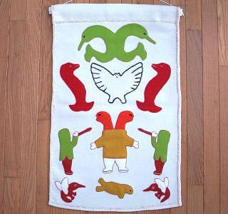 Various Man-animal Transformation Spirits Or Shamans Are Depicted Tapestry - Textile - Owl With Mosquitos And Spirits by Emily Halluqtalik
