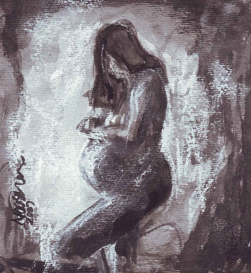 P 29 - Pregnant Woman Painting by Nooshin Zarnani