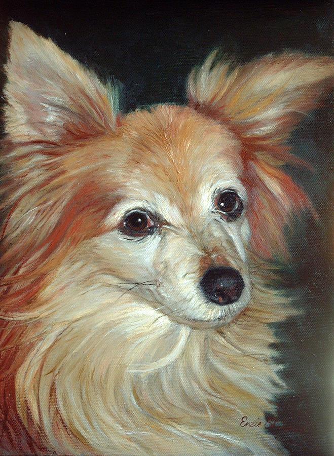 Pet Portraits Painting - Paco The Papillion by Enzie Shahmiri