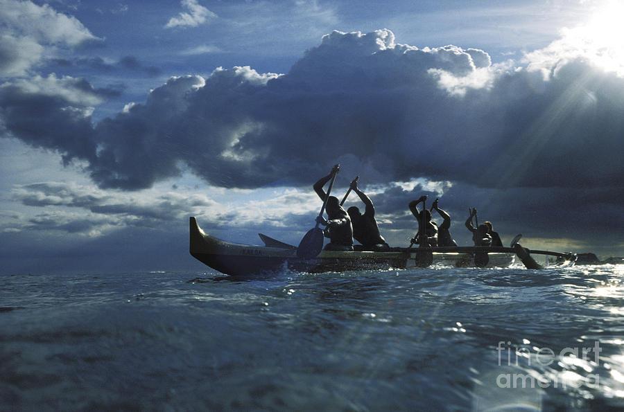 02-csm0209 Photograph - Paddlers At Sunset by Bob Abraham - Printscapes