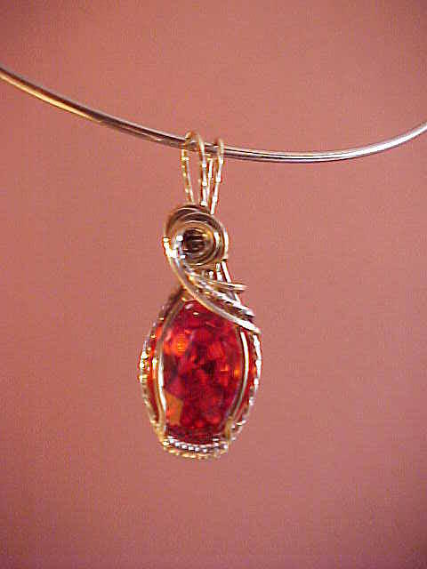 Gold Wire Wrapped Jewelry - Padparadsha by John Hite
