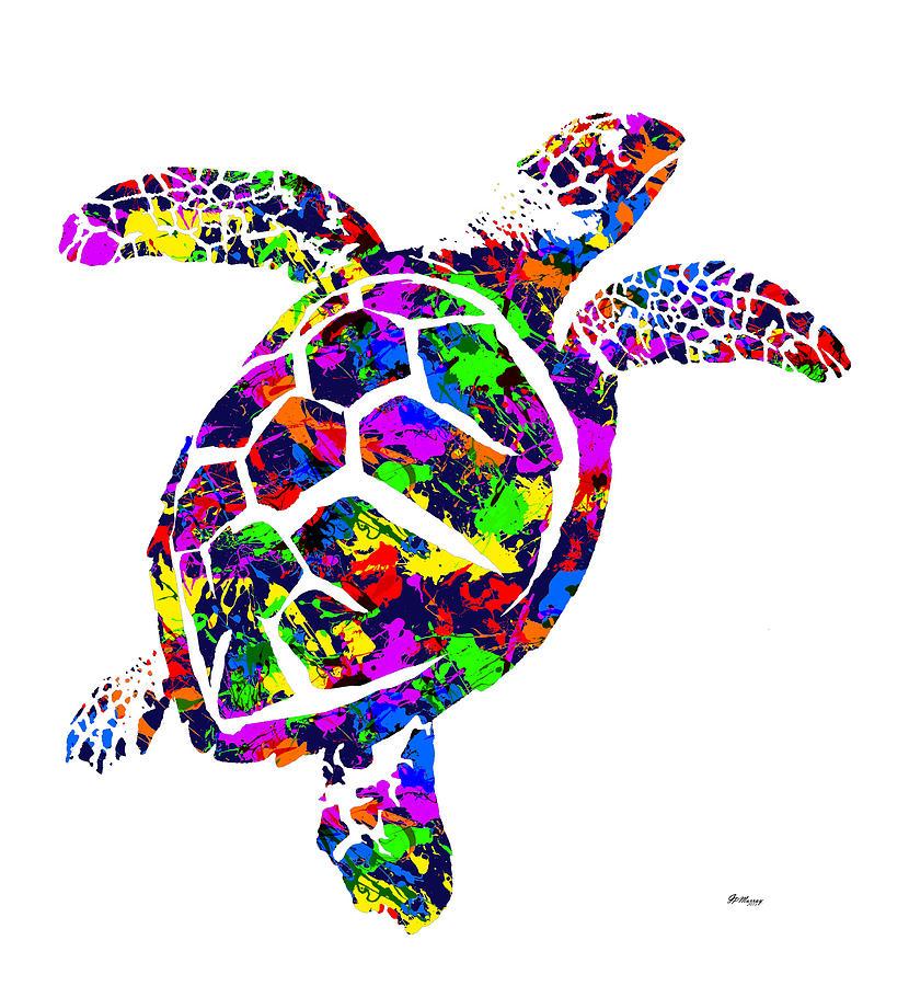 Paint Splatter Sea Turtle Digital Art By Gregory Murray
