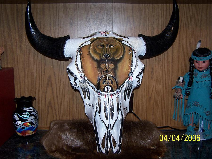 Painted Buffalo Skull Mixed Media