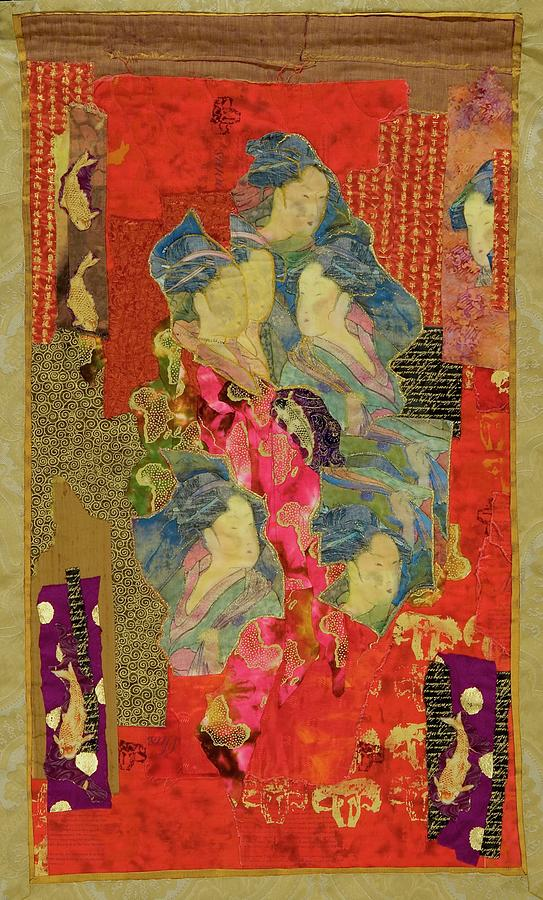 Quilt Tapestry - Textile - Painted Geisha by Roberta Baker