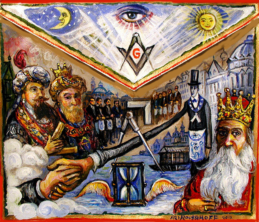 painted masonic apron brotherhood of mankind painting by