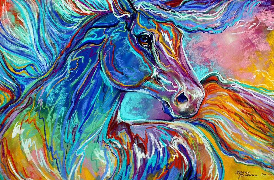 Painted pony abstract in pastel painting by marcia baldwin for Pastel teal paint