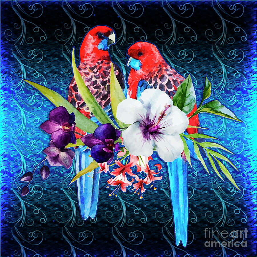 Paired Parrots Digital Art
