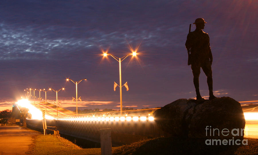 Palatka Photograph - Palatka Memorial Bridge Doughboy by Angie Bechanan