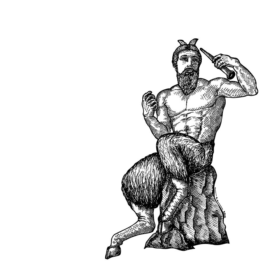 Drawing Drawing - Pan Satyr by Karl Addison