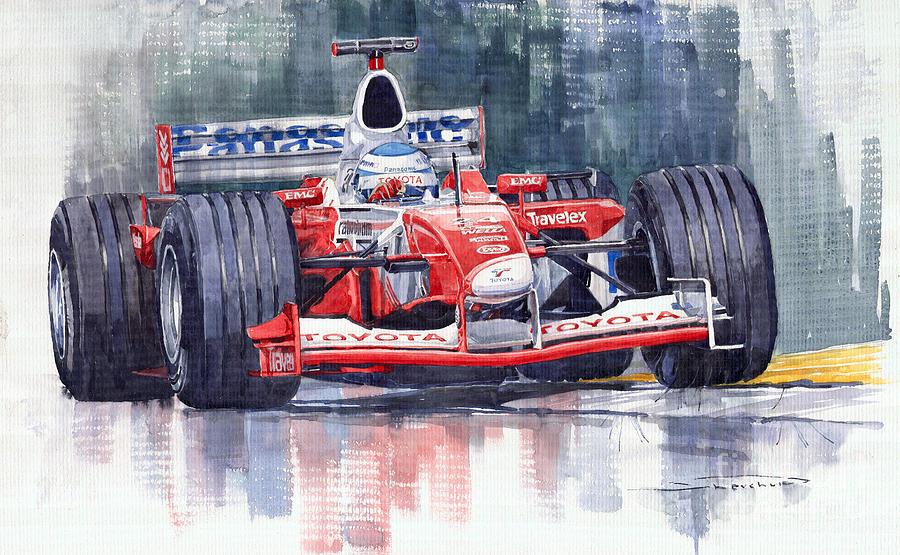 Watercolour Painting - Panasonic Toyota Tf102 F1 2002 Mika Salo by Yuriy  Shevchuk