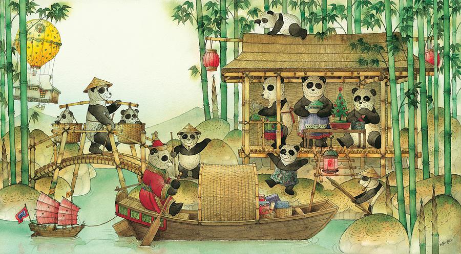Christmas Greeting Cards Panda China Painting - Pandabears Christmas 03 by Kestutis Kasparavicius