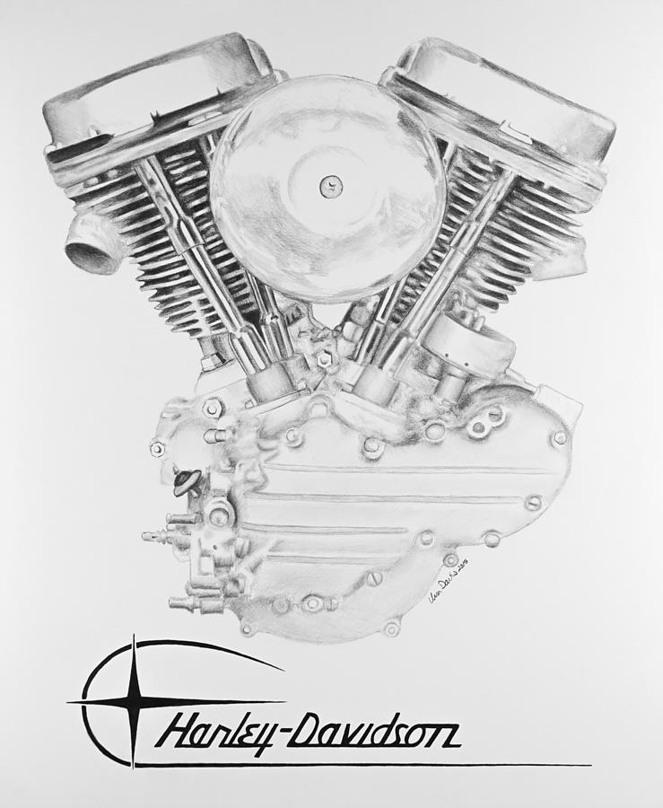 panhead harley engine drawing by ursa davis