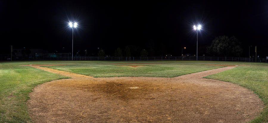 Panorama Of Empty Baseball Field At Night From Behind Home ...