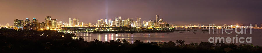 Alive Photograph - Panorama Of Miami At Night by Matt Tilghman