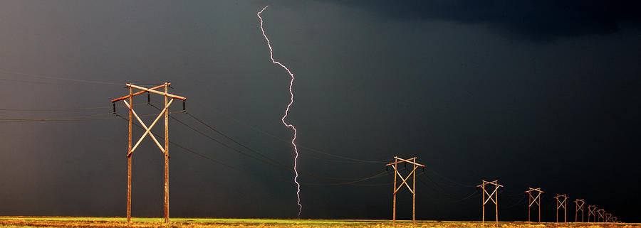 Panoramic Lightning Storm And Power Poles Digital Art