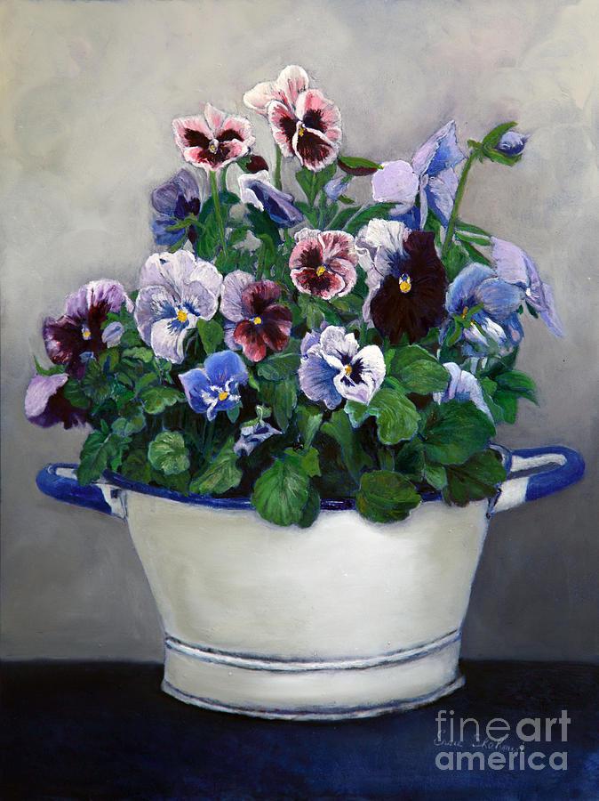 Painting Painting - Pansies by Enzie Shahmiri