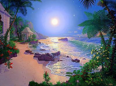 Moonlight Painting - Paradise From The Worlds Of Nature And Conservation Series by Loren Adams