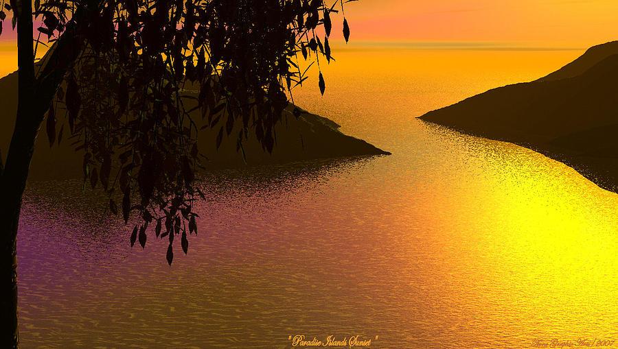 Digital Painting - Paradise Island by Wayne Bonney