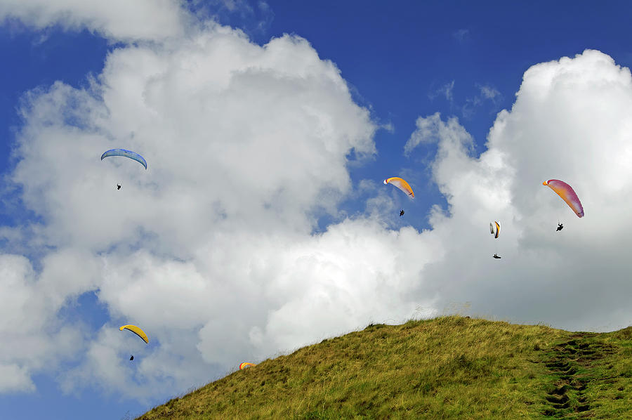 Paragliders Above  Mam Tor Photograph