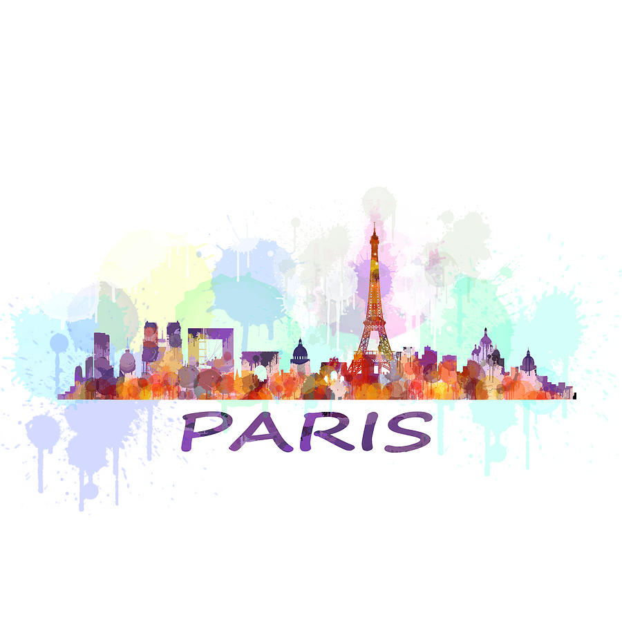 Paris City Skyline Hq Watercolor Drawing By Hq Photo